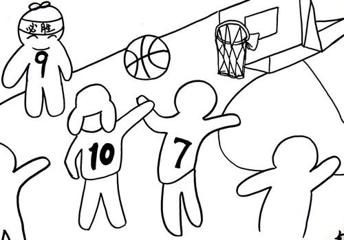 打篮球的简笔画大全